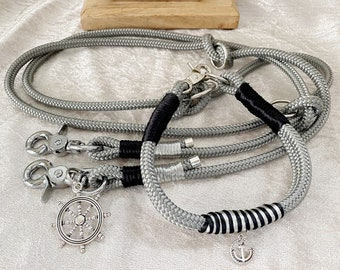Set collar and leash in silver grey tau - Paracord 8 mm
