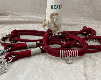"""Our new set """"Lady in Red"""" - collar and leash in ruby red tau - Paracord 8 mm"""