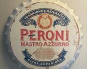 Peroni Vintage Retro Metal Bottle Top 40cm Man Cave Girl Cave Bar Garden Hallway Wall Art Bottle Top Bottle Cap