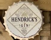 Hendricks Vintage Retro Metal Bottle Top 30cm Man Cave Girl Cave Bar Garden Hallway Wall Art Bottle Top Bottle Cap