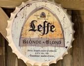 Leffe Vintage Retro Metal Bottle Top 40cm Man Cave Girl Cave Bar Garden Hallway Wall Art Bottle Top Bottle Cap