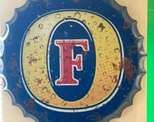 Fosters Vintage Retro Metal Bottle Top 40cm Man Cave Girl Cave Bar Garden Hallway Wall Art Bottle Top Bottle Cap