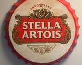 Stella Artois Vintage Retro Metal Bottle Top 40cm Man Cave Girl Cave Bar Garden Hallway Wall Art Bottle Top Bottle Cap