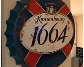 Kronenbourg 1664 Vintage Retro Metal Bottle Top 40cm Man Cave Girl Cave Bar Garden Hallway Wall Art Bottle Top Bottle Cap