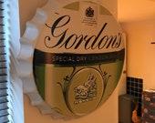 Gordons Gin Vintage Retro Metal Bottle Top 40cm Man Cave Girl Cave Bar Garden Hallway Wall Art Bottle Top Bottle Cap