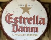 Estrella Vintage Retro Metal Bottle Top 40cm Man Cave Girl Cave Bar Garden Hallway Wall Art Bottle Top Bottle Cap