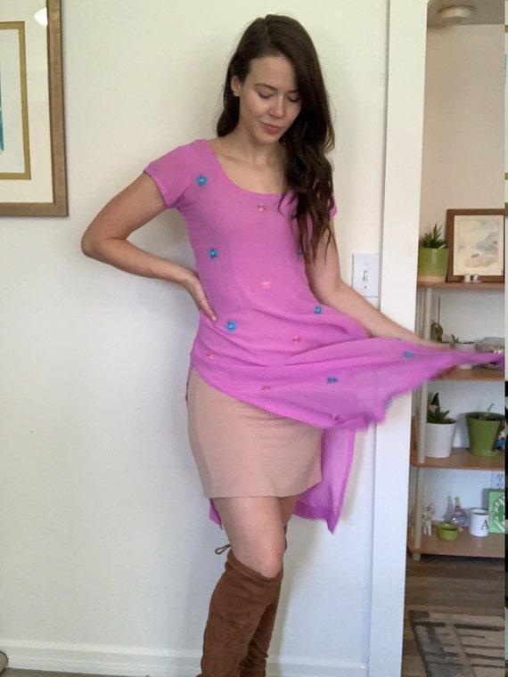 Vintage lilac floral sheer tunic dress