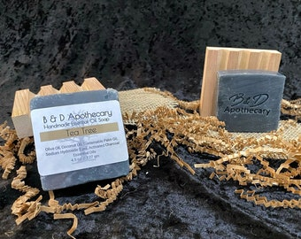 Tea Tree with Activated Charcoal Soap Bar, All natural  essential Oils, handmade soap vegan soap bar.