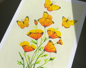 Mexican Golden Poppy and Orange-barred Sulphur Butterfly | Matte Print