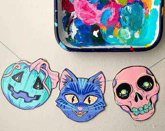 Pastel Printable Halloween Garland | Coloring Pages | Instant Download
