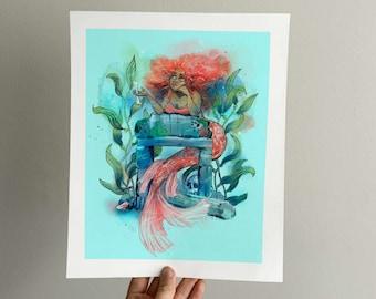 Grumpy Mermaid | Digital Watercolor Print