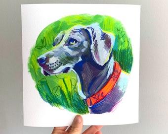 Custom Pet Portrait | Watercolor Pastel Painting Print