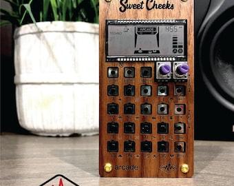 Solid walnut wood case for all teenage engineering pocket operators.