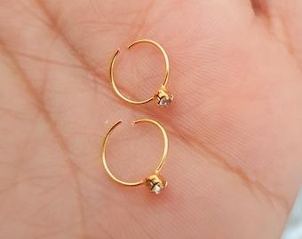 2 Hoop Gold Zirconia Nose Rings Indian Jewelry earpiercings chic piercing diamond nose ring