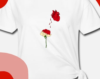 """T-Shirt Knotted Woman """"I can paint all your white roses in a flaming red"""""""