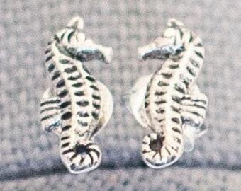 Vintage Sterling Silver Seahorse Stud Earrings | J15