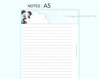 A5 Ring Planner Insert - NOTES INSERT! *Printable* w/ Cookie