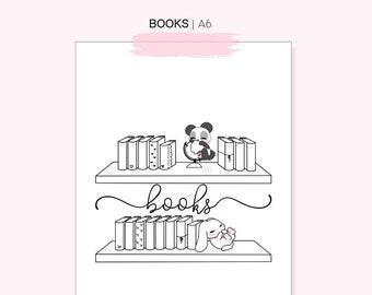 A6 Planner Insert, Books Tracker insert, Printable inserts, Ring planner inserts, traveler notebook insert