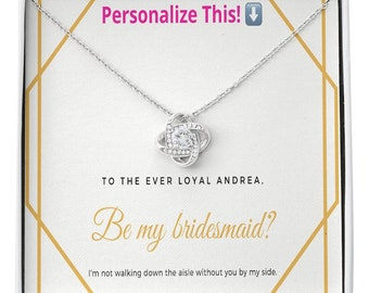 Personalized Bridesmaid Gift, Custom Wedding Gift, Love Knot Necklace