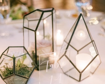 Antique Black Glass Geometric Terrarium - For Home Decor, Wedding, Centerpiece, Succulent, Air Plant