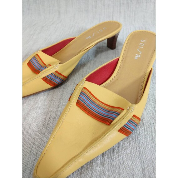 Vintage UNISA Slip on Mules 90's Yellow Size 8 - image 5