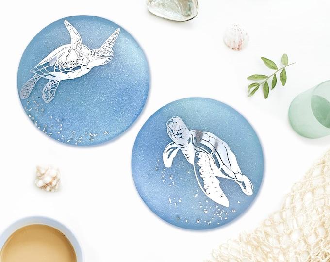 Sea Turtle Coaster, Pastel Blue, Pastel Green, Aquatic Sea Animals Coaster, Coffee Drink Coaster, Coastal Decor, Beach Decor, Nautical Gifts