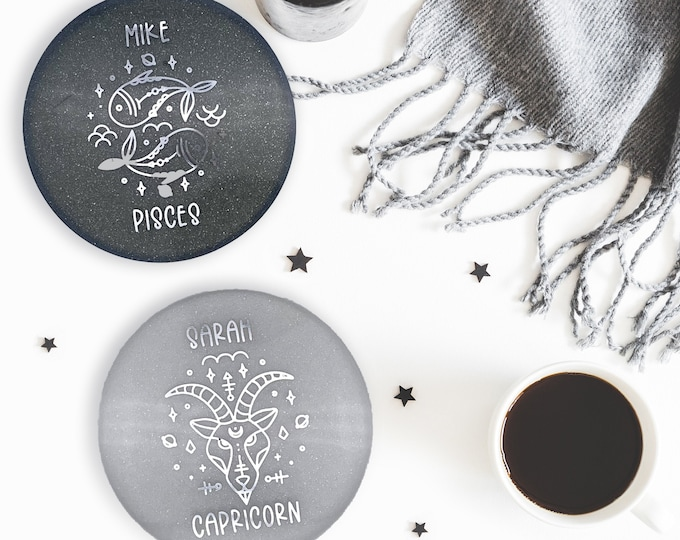 Personalized Zodiac Signs Coasters, Astronomy Astrology Coasters, Customized Family Names, Home Decor, Birth Signs, Personalized Gift