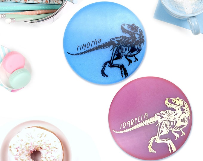 Dinosaur Coasters Personalized, Pink Dinosaur, Blue Dinosaur, T-Rex Art, Kids Room Decor, Teenager Room Decor, Dinosaur Gift