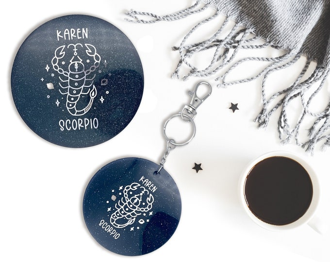 Personalized Zodiac Signs Coasters Keychain Set, Astronomy Astrology Coasters, Customized Names, Bag Accessory, Personalized Gift