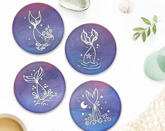 Mermaid Coaster 4 Set, Blue Purple Pink, Beach Sea Ocean Coaster Set, Coastal Decor, Nautical Decor, Kitchen Decor, Mermaid Gift