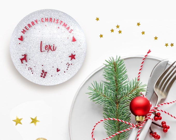 Holiday Name Placements Round Coasters, Christmas Name Placement Cards, Holiday Decor, Christmas Dinner Table Decor, Personalized Gift