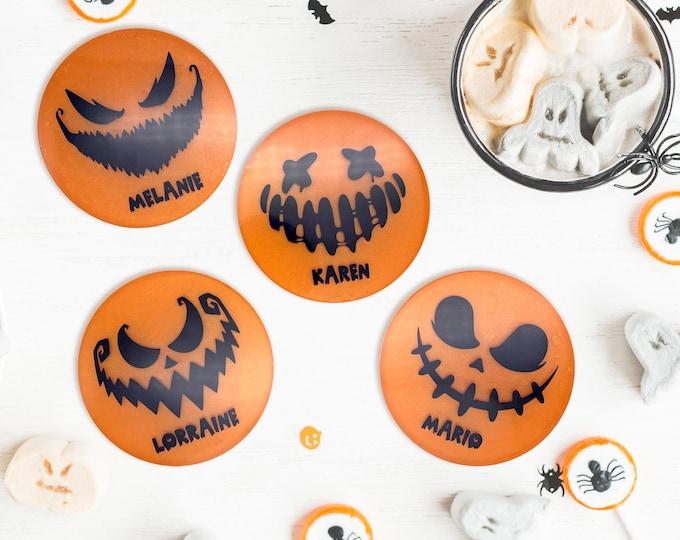 Halloween Coasters Personalized, Black Orange Jack o Lantern, Pumpkin Faces, Halloween Party Pack, Halloween Gifts, Halloween Decor