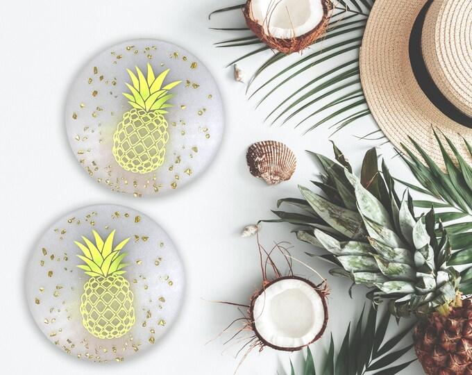 Pineapple Fruit Coaster, Green Foil Pineapple Art, Tropical Fruit Kitchen Coaster, Tropical Drinks, Kitchen Decor, Resin Coaster, Gift
