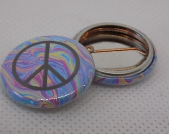 Tie Dye Peace Sign pinback button