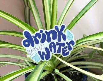 Drink Your Water Sticker   Eco-friendly recyclable sticker   stay hydrated sticker, drink more water