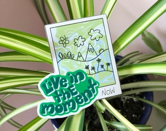 Live In The Moment Sticker   Eco-friendly recyclable sticker   Polaroid sticker