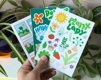 Eco Friendly Sticker Sheets   Plants, handlettering, polaroids