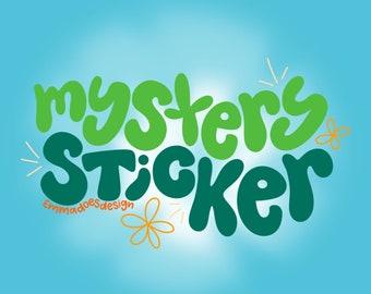 Mystery Handlettered Sticker   Eco-friendly recyclable sticker   Art sticker