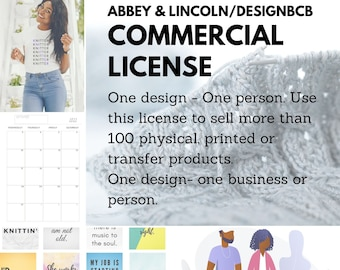 Commercial License for One Product Design - License to sell 100+ printables, transfers and products - Abbey and Lincoln, Designbcb