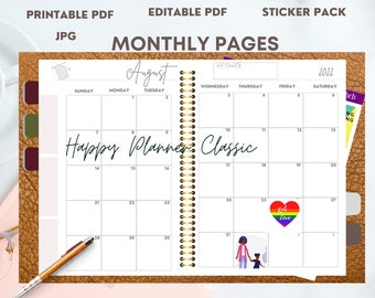 Digital Download 2022 Monthly Calendar for Happy Planner Classic - Printable and Editable PDF pages, Sunday start 2 page spread, jpg files