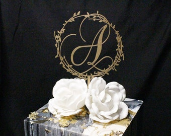 Gold Wedding Cake Topper, Initial Cake Topper, Custom Cake Topper, Wedding Cake Topper, Bridal Shower Cake, Last Name Initial