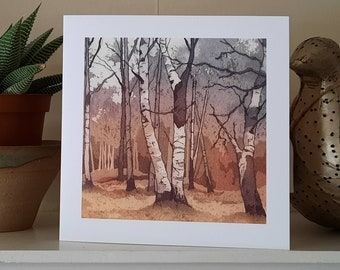 Birch Wood Greetings Card from an original etching.