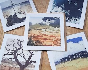 Coastal 5 card pack from original etchings.