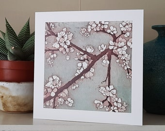 Blossom III Greetings Card from an original etching.