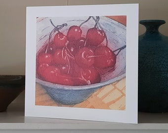 Cherry Ripe Greetings Card from an original etching.