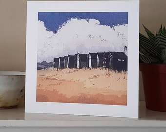 Beach Huts Greetings Card from an original etching.