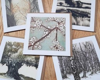 Tranquil 5 card pack from original etchings and monoprint.