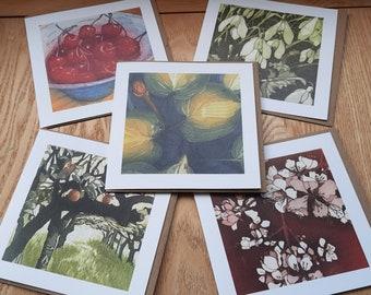 Fruit & Flowers 5 card pack from original etchings.