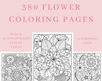 Adult Coloring Book FLOWERS NATURE Pages Printable Art Activity Book Adults Pages for Coloring, Bohemian Artesian Unique Sustainable Gift