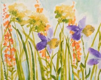 Meadow Flowers Watercolor Painting
